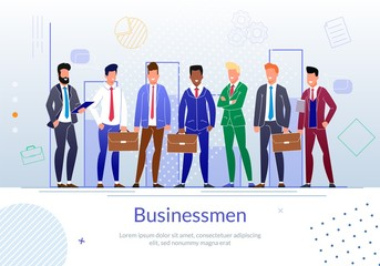 Successful Businessmen Team Flat Vector Poster