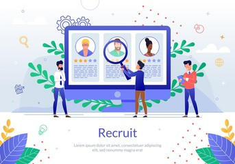 Recruit Worker with Online Resumes Vector Poster