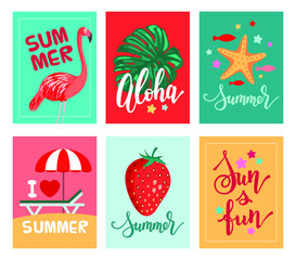 Summer templates vector set. Typography, calligraphy, hand lettering. Vacation signs. Visiting card, banner, cover. Season clip art chaise lounge, tropical leaf, flamingo, starfish, sun and fun theme.