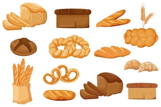 Bakery set Vector. Bread, pretzel, croissant. Front view detailed illustrations