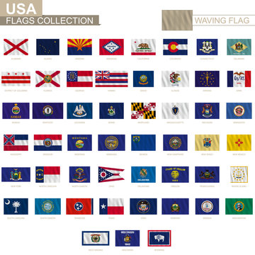 State flags of United States of America with waving effect, official proportion.