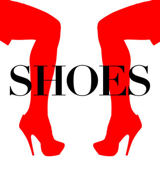 Silhoutte of ladies fashionable, expensive high heel shoes