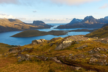 Foto op Canvas Arctica Panoramic view from the top of the mountain during sunset on Lofoten Islands.