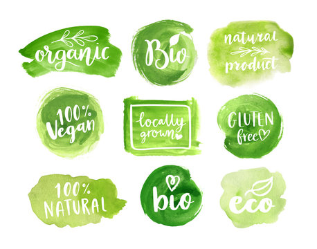 Eco, organic food labels. Vector green abstract hand drawn watercolor background. Natural, organic food, bio, eco design elements.