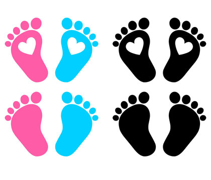 Baby Feet, Footprint, Hearts. Vector illustration