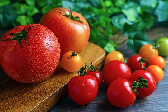水滴のついた新鮮なトマト