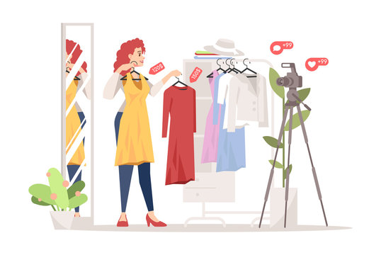 Fashion blogger flat vector illustration. Dress, online shopping, clothing store and lookbooks influencer review. Women style streamer isolated cartoon character. Stylist, fashionista, fashion advisor
