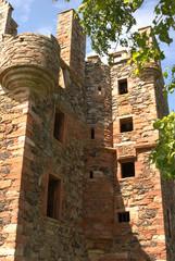 detail of ruins of Greenknowe tower in Scotland