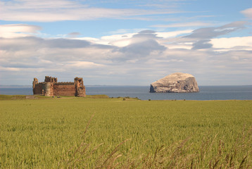 close view of Tantallon castle and Bass Rock, Scotland