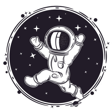 Astronaut runs in space. Round emblem. Illustration on the theme of astronomy.