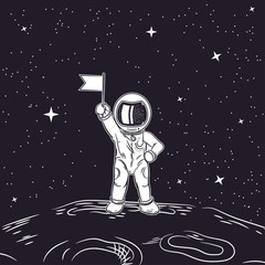 Astronaut with flag in hand. Outer space