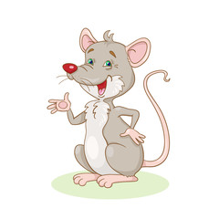 Funny rat. In cartoon style. isolated on white background.