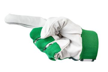 hand in work glove shows left