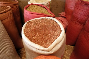 Grains for sale in Ethiopian market, February 2019