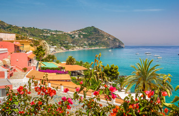 Wall Mural - Landscape with Sant Angelo village and Maronti beach, coast of Ischia, Italy