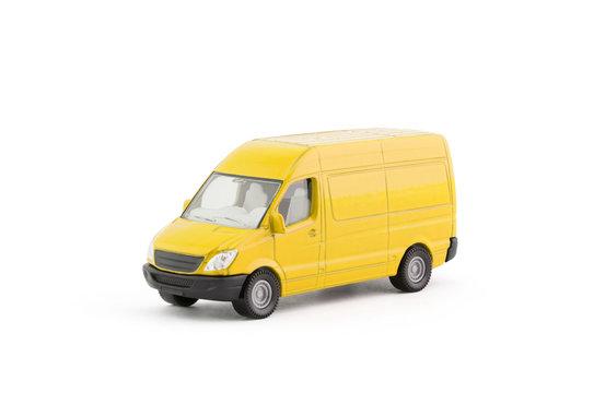 Transport yellow van car on white background