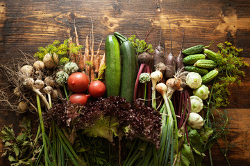 Fresh organic raw vegetable food. Natural agriculture farm, healthy harvest. Wall mural