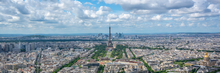 Fototapete - Aerial panoramic scenic view of Paris with the Eiffel tower, France and Europe city travel panorama