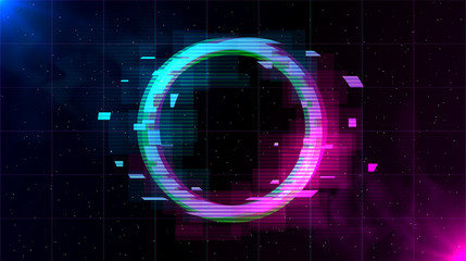 Retrowave Glitch Circle with sparkling and blue and purple glows with smoke.