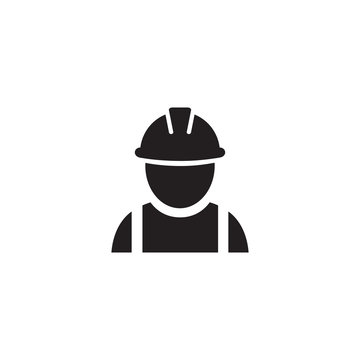 Construction worker icon on white