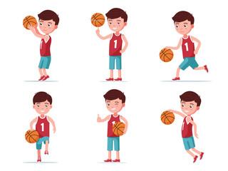 Set boy basketball player playing with a ball