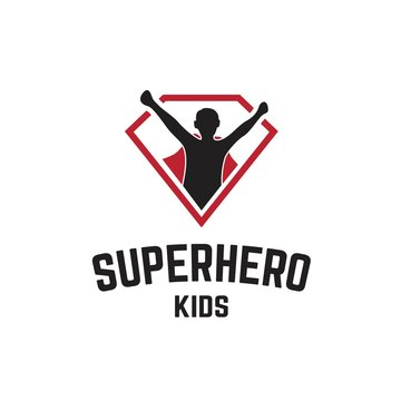 Superhero logo with kids silhouette wearing caps logo design inspiration