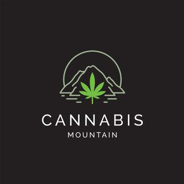 Cannabis leaf with mountain line art logo design