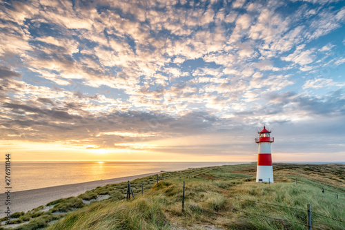 Wall mural Red Lighthouse on the island of Sylt in North Frisia, Schleswig-Holstein, Germany