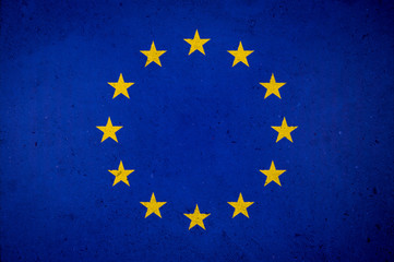 EU European Union flag on textured concrete background