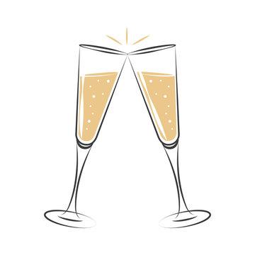 toasting with champagne celebration design vector illustration EPS10