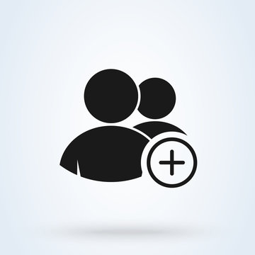 Add and Plus Group. Simple modern icon design illustration.