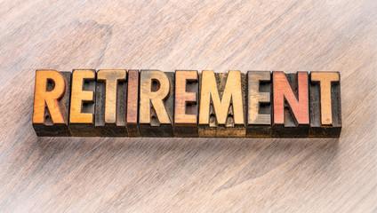 Keuken foto achterwand Hoogte schaal retirement word abstract in wood type
