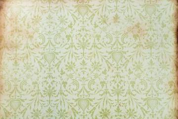 Ressource graphique, fond papier peint baroque et roccoco tons ocres et verts tendres