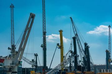 dockside cranes at the industrial harbour in Rostock