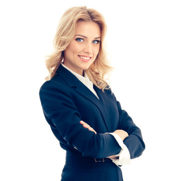 Full body portrait of happy smiling businesswoman, isolated against white color background