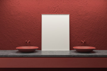 Red double sink and poster in bathroom interior