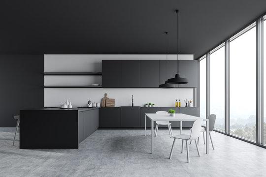 Panoramic gray and white kitchen interior