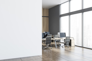 Gray and wood open space office corner, mock up