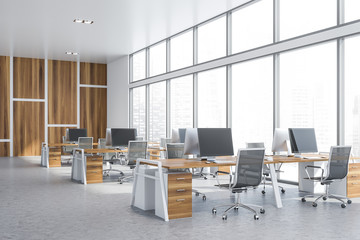 Wooden panoramic open space office