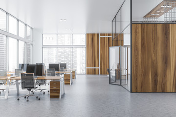 Wooden panoramic open space office interior