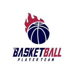 Modern Basketball Sport Logo Design Vector Template. Modern Basketball Emblem logo icon Symbol