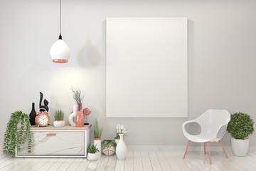 mock up poster granite cabinet and frame.3d rendering