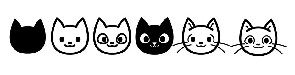 Cat icons collection. Kittens emoji symbols set. Black and white simple outline cats head emoticon pictures. Vector isolated.