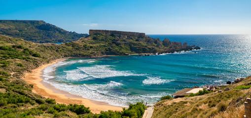 Fototapete - Maltese beach. Seashore of Malta.