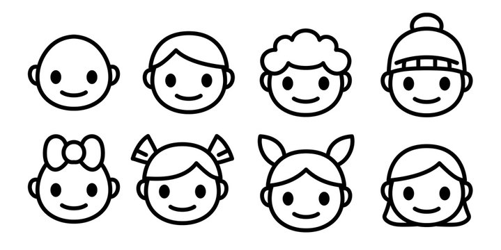 Line icons of childen of different ages and gender. Kids faces of happy boys and girls emoji set. Simple and cute isolated vector.