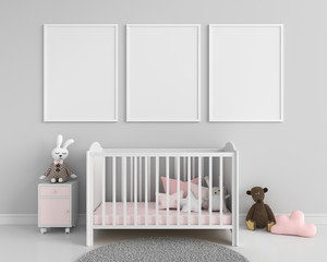 Three blank photo frame for mockup, 3D rendering