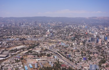 Areal view of Addis Ababa from the airplane