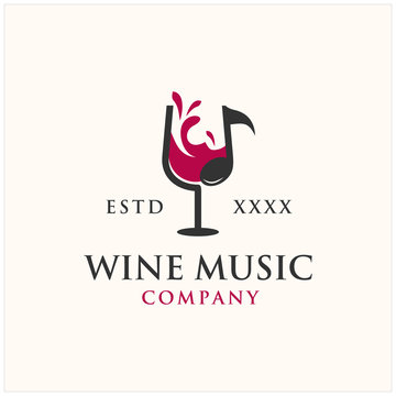 wine music cocktail bar logo illustration vector icon
