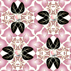 Jewelry 3d Baroque vector seamless pattern. White elegance background. Floral repeat backdrop. Damask baroque ornament in Victorian style. Vintage beautiful pink lily flowers, black leaves, 3d pearls