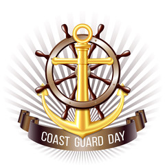 Coast guard day greeting card. Nautical emblem